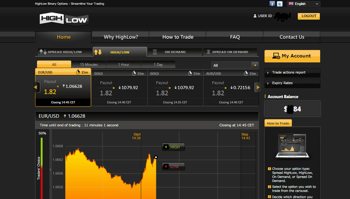 High low binary options review