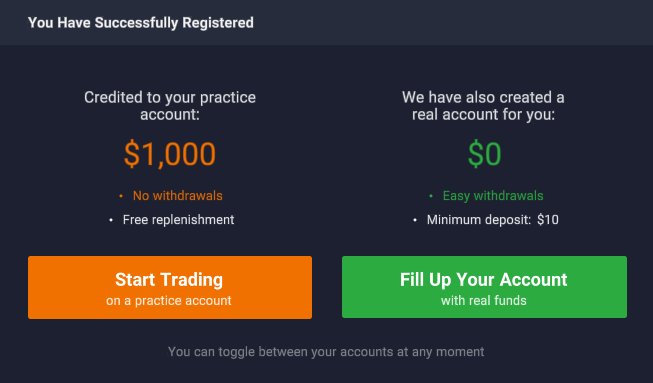 Of course, we select the button on the left Start trading on a practice account